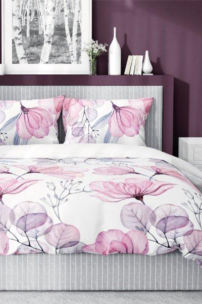 Pościel Bawełna Satynowa 160x200 - biało-różowa