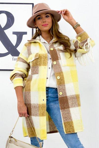 Płaszcz WIENNA frędzle - yellow/beige