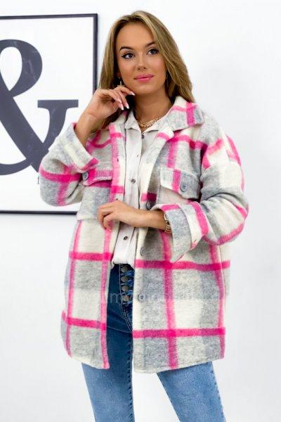 Kurtka koszulowa BERRY w kratę - grey/pink