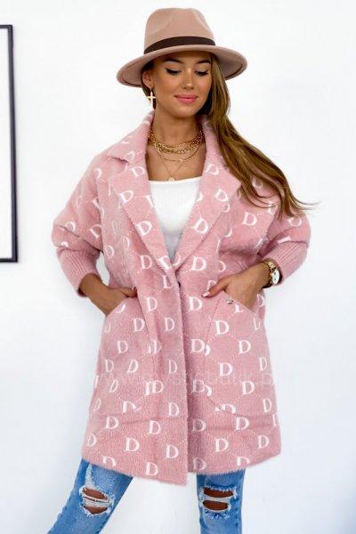 Płaszcz alpaka DD - pink/ecru