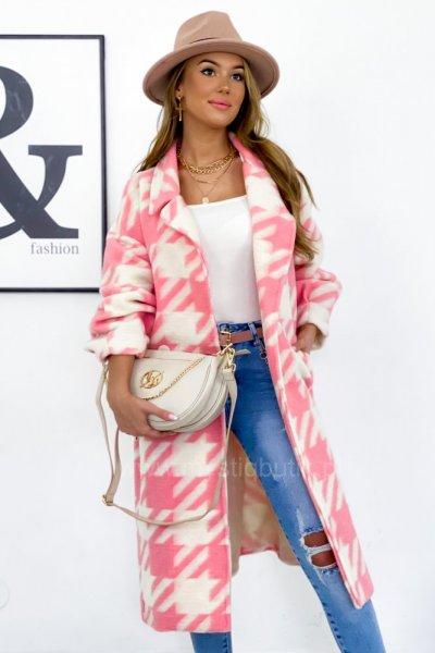 Płaszcz LONGI w pepitkę - ecru/pink