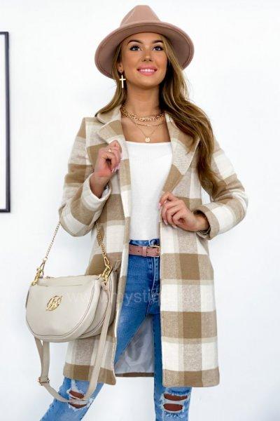 Płaszcz w kratę SPRING - latte