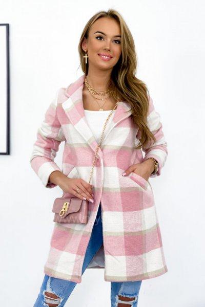 Płaszcz w kratę SPRING - pink