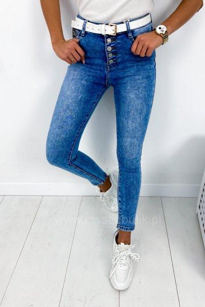 Spodnie jeans skinny z rozporkami - blue