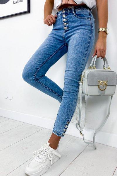 Spodnie jeans skinny z napami - blue