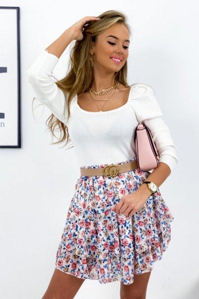 Spódnica mini szyfon FLOWERS - white