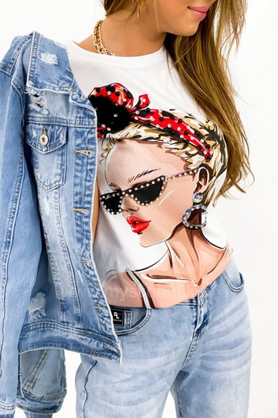 T-shirt fashion GIRL - white