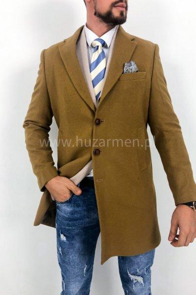 Płaszcz męski camel jednorzędowy H22