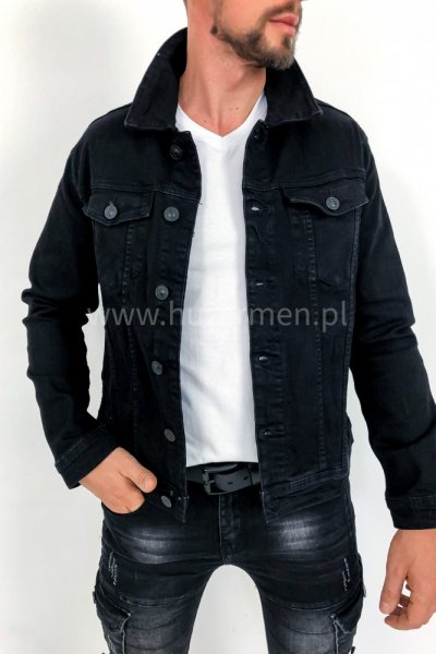 Kurtka męska jeans czarna z nadrukiem