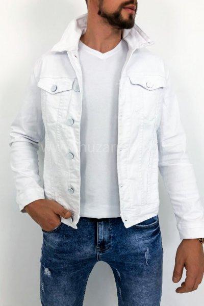Kurtka męska jeans biała z nadrukiem na plecach