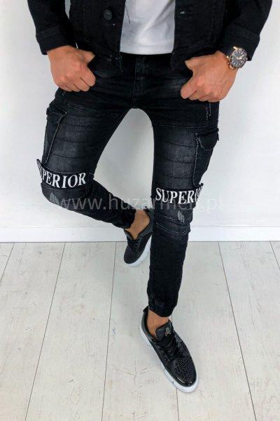 Spodnie męskie joggery z naszywkami czarne