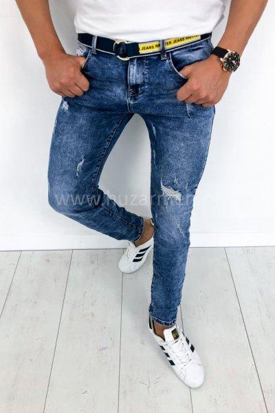 Spodnie męskie jeans z paskiem w zestawie