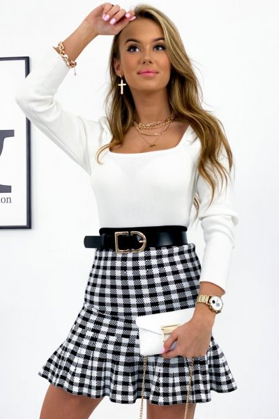 Spódnica LEA z falbanką - black/white