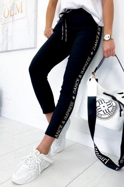 Spodnie baggy FLOW - black/gold