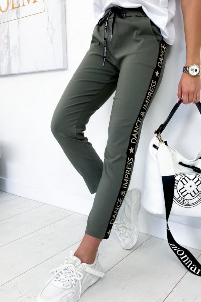 Spodnie baggy FLOW - khaki/gold