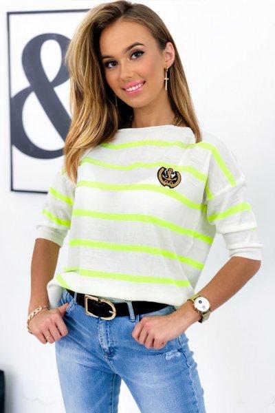 Sweter MARINE w pasy - white/neon lemon