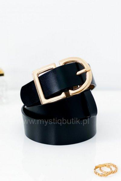 Pasek ze skóry naturalnej + złota klamra - black