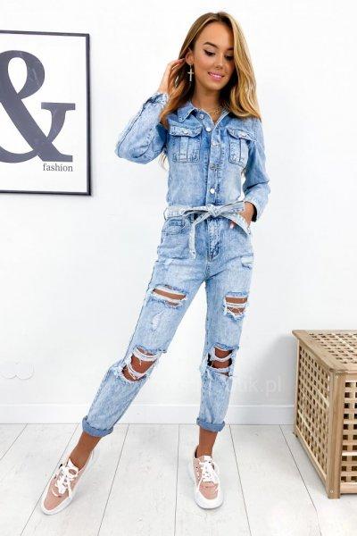 Kombinezon jeans FASHION - blue