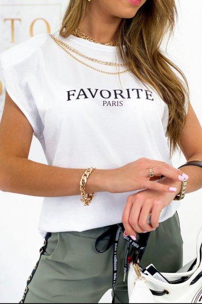 T-shirt Favorite z łańcuszkiem - white