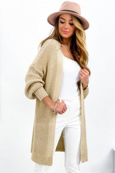 Kardigan/sweter LONGI Melisa - złoty