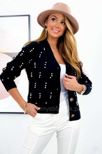 Sweter PEARL lux rozpinany - black