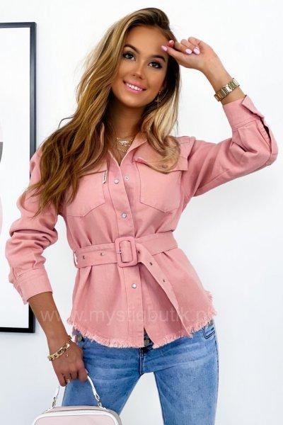 Katana/kurtka koszulowa jeans Tuesday - pudrowy róż
