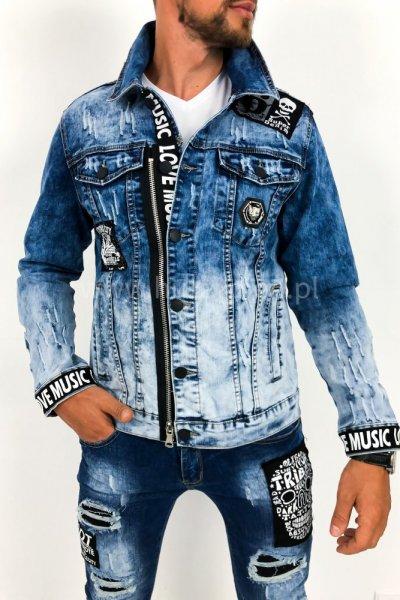 Kurtka męska jeans z naszywkami G070