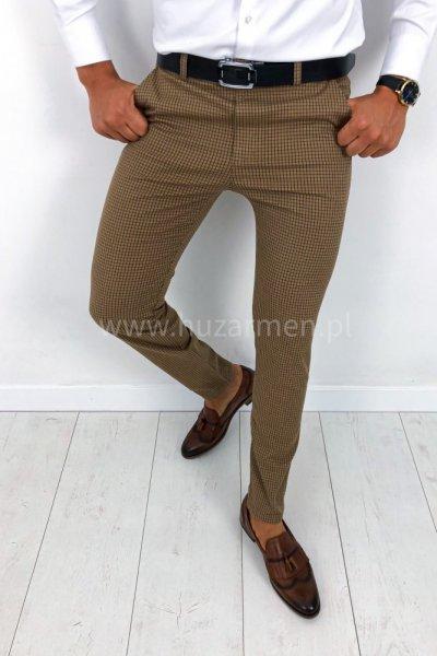 Spodnie męskie materiałowe musztardowe w kratę H33 SLIM FIT