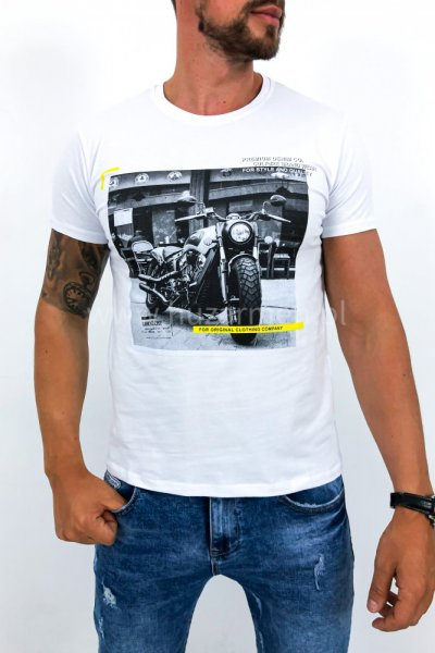 T shirt męski moto biały