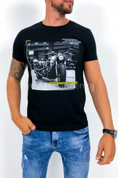 T shirt męski moto czarny