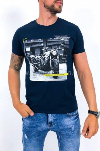 T shirt męski moto granat