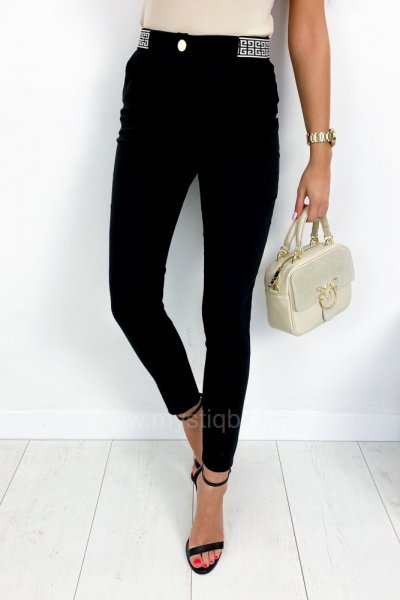 Spodnie/cygaretki w kant z wzorem w pasie - black/beige
