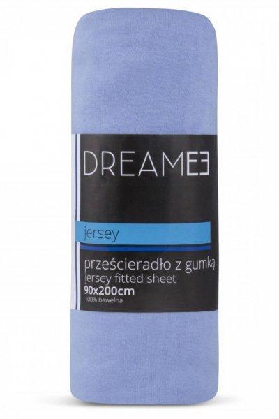 Prześcieradło z gumką JERSEY DREAM 90x200 - 100 % bawełna - błękitne
