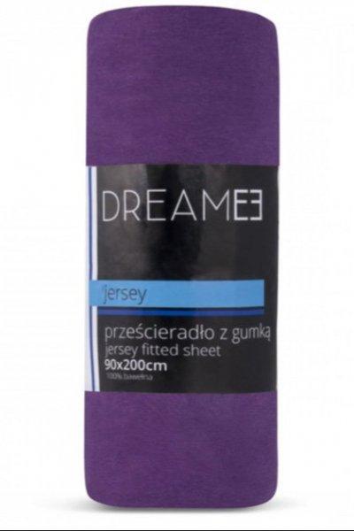 Prześcieradło z gumką JERSEY DREAM 180x200 - 100 % bawełna - fiolet