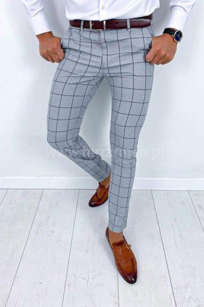 Spodnie męskie w kratę H013
