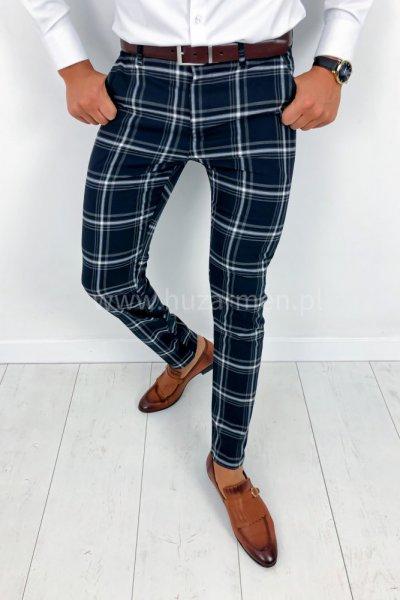 Spodnie męskie w kratę granat H011