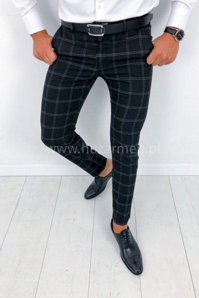 Spodnie męskie w kratę czarne H015