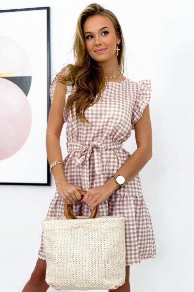 Sukienka w kratę MOLLI - beige