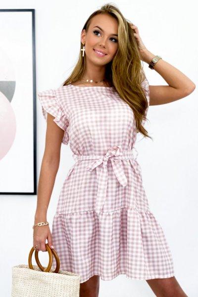 Sukienka w kratę MOLLI - pink
