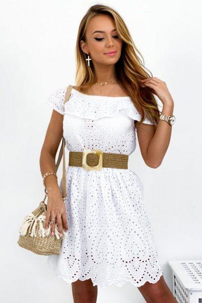 Sukienka BELLA ażurowa - white