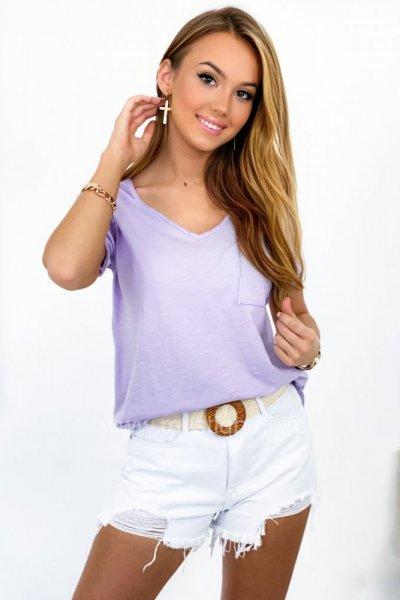 T - shirt BASIC z kieszonką - lila