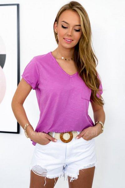 T - shirt BASIC z kieszonką - amarant