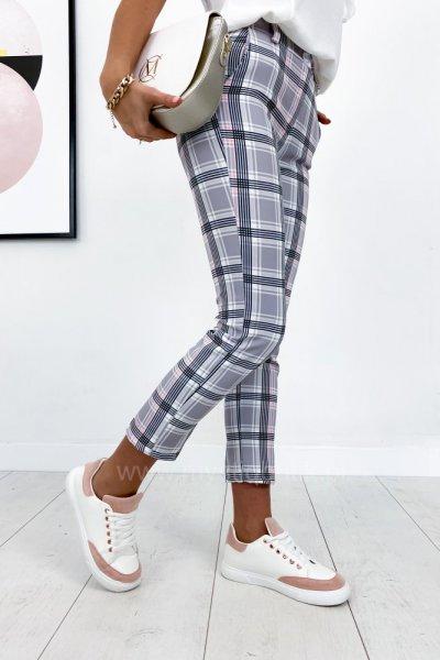 Spodnie/cygaretki RELAY w kratę - pink/grey