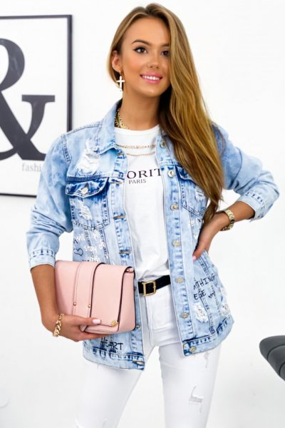 Katana/kurtka DENIM z przetarciami i nadrukiem - jasny jeans