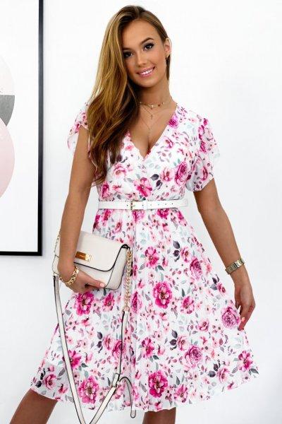 Sukienka LILIANA 2 - white/pink