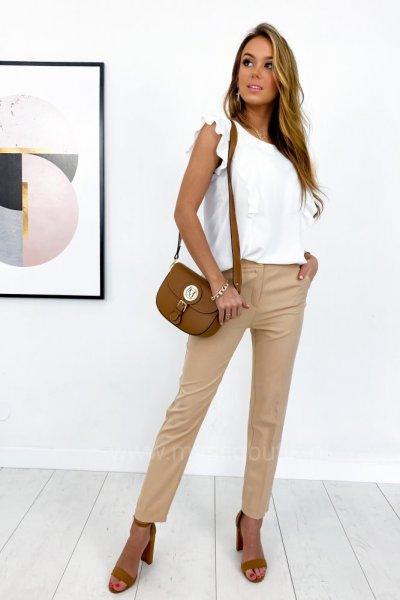 Spodnie cygaretki w kant clasic - camel