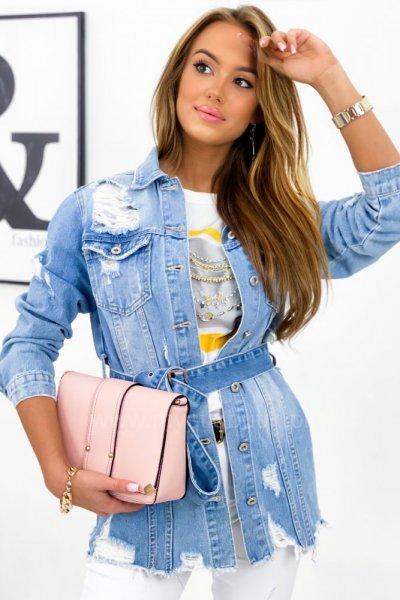 Katana/kurtka jeans LONGI z przetarciami 2 - blue