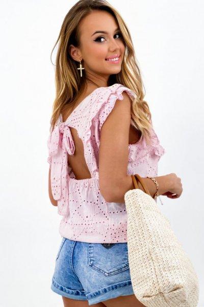 Bluzka SUMMER ażur sexy back - pink