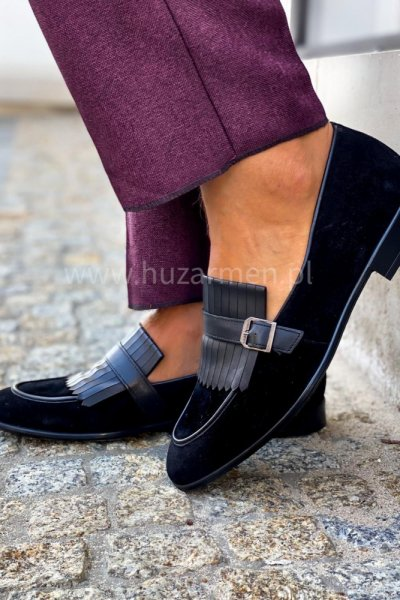 Buty męskie mokasyny zamsz czarne H5