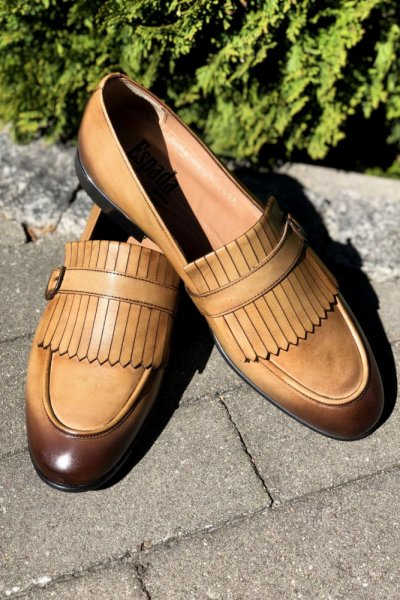 Buty męskie mokasyny beż H8